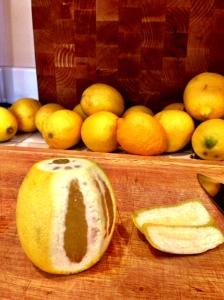 sliced lemon for limoncello