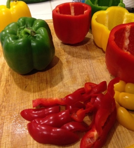 Save and dice the tops of your peppers