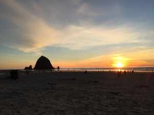 Perfect sunset over Haystack rock on New Years Day