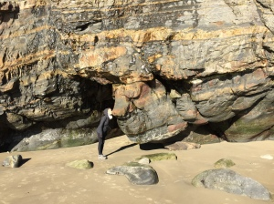 Beth kissing the old man (muppets) looking rock at Short Sand beach.