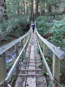 Beth on the awesome rickety bridge I remember from nearly 20 years ago!