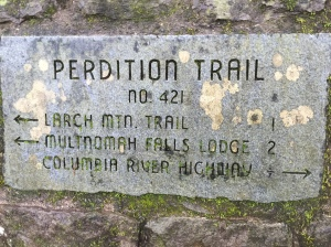 Perdition trail sign just past Wahkeena Falls.
